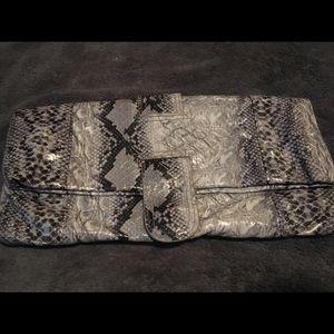 Handbags - Animal print gray clutch